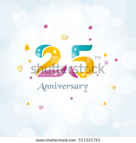 25 th Anniversary logo template, 25 th birthday icon, Vector.