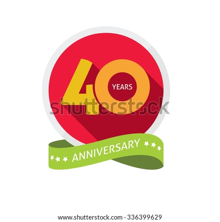 40th anniversary logo template with shadow on circle number 4 (four). 40 years icon. Forty years birthday party symbol. Thirtieth holiday sticker, ribbon, banner, poster, logotype, emblem, tag - stock vector
