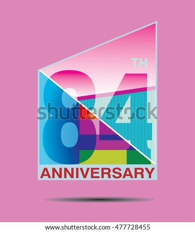 87th anniversary logo geometrical colorful color stock vector 477728554 shutterstock - Color of th anniversary ...