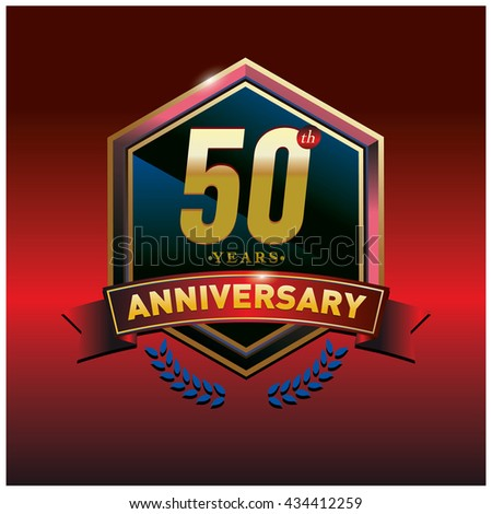50th anniversary logo with gold ring and red ribbon. Anniversary signs illustration. Gold anniversary logo design and illustration
