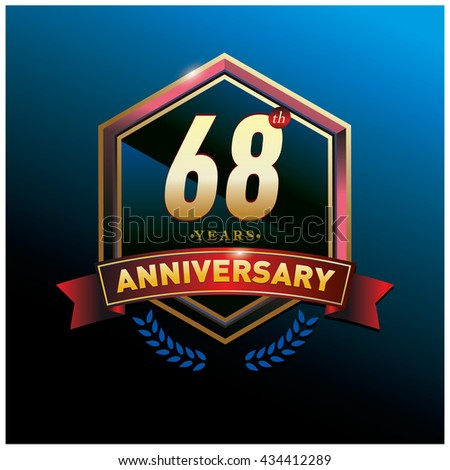 68th anniversary logo with gold ring and red ribbon. Anniversary signs illustration. Gold anniversary logo design and illustration