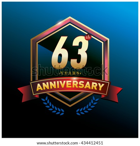 63th anniversary logo with gold ring and red ribbon. Anniversary signs illustration. Gold anniversary logo design and illustration