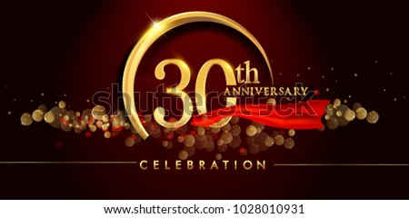 30th anniversary logo golden ring confetti stock photo photo