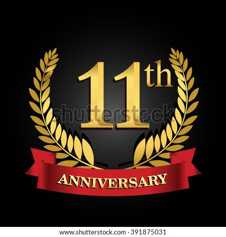 11 Th Anniversary Logo Red Ribbon Golden Stock Vector 391875031