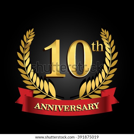 10th anniversary logo with red ribbon. 10 years anniversary signs illustration. golden anniversary wreath ribbon logo.