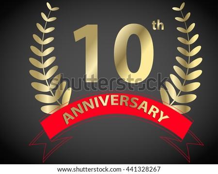 Th anniversary logo red ribbon stock vector