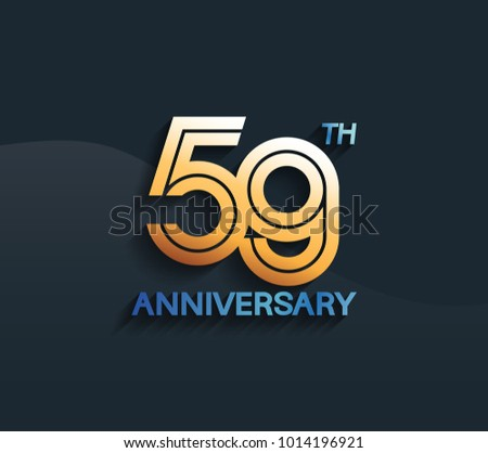 59th Anniversary Logotype Multiple Line Golden Stock Vector