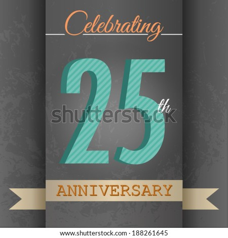 25th Anniversary poster / template design in retro style - Vector Background - stock vector