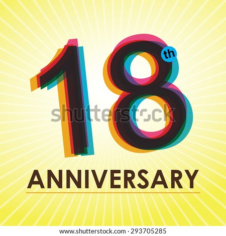 18th Anniversary poster / template design in retro style - Vector Background - stock vector