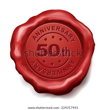 50th anniversary red wax seal over white background