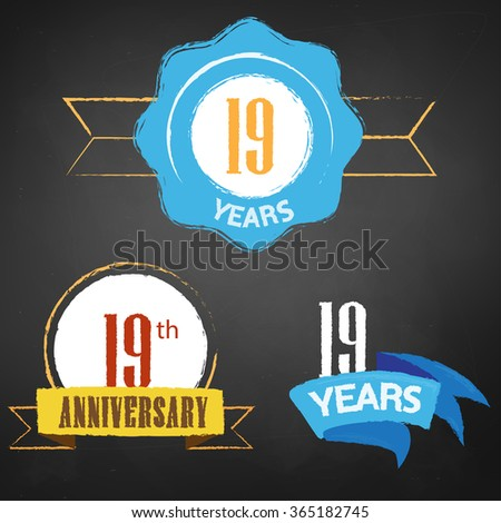 19th Anniversary/ 19 years colorful chalk emblem vector with 3 different options