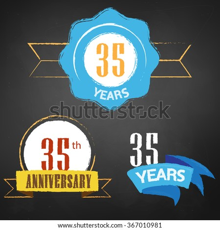 35th Anniversary/ 35 years colorful chalk emblem vector with 3 different options