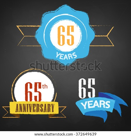 65th Anniversary/ 65 years colorful chalk emblem vector with 3 different options