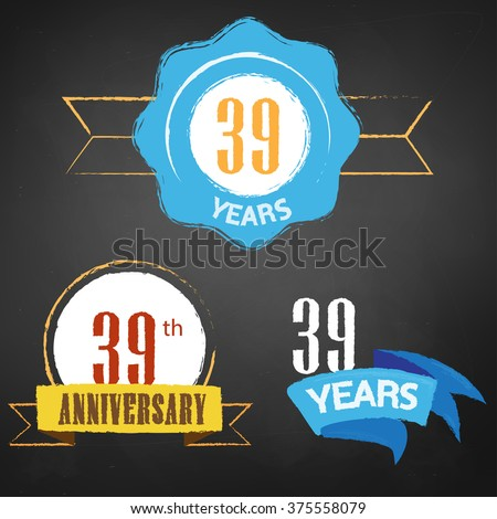 39th Anniversary/  years colorful chalk emblem vector with 3 different options