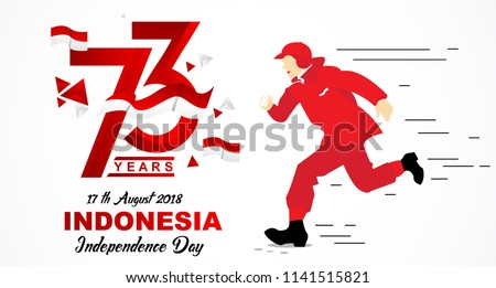 73th August 2018 Logo Special happy independence indonesia with run people