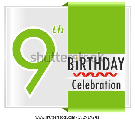9th birthday celebration card with vibrant colors and ribbon - vector illustration - stock vector