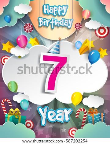 7th Birthday Celebration Greeting Card Design Stock Vector Royalty