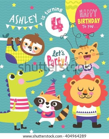4th Birthday Party Invitation Card - stock vector
