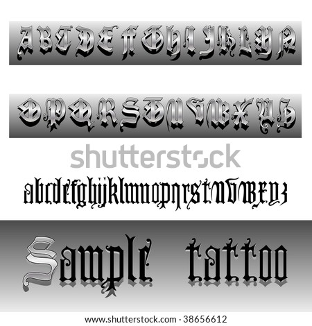 15th century English Gothic letters - stock vector