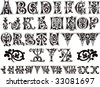 11th century engraved ornamental alphabet and numerals - stock vector