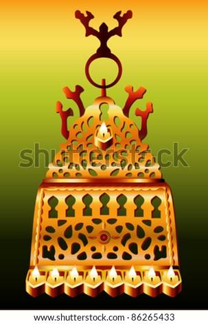 19th Century Morocco Safi Hanukkah Menorah. - stock vector