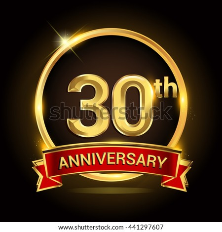 30th Golden Anniversary Logo Ring Red Stock Photo Photo Vector