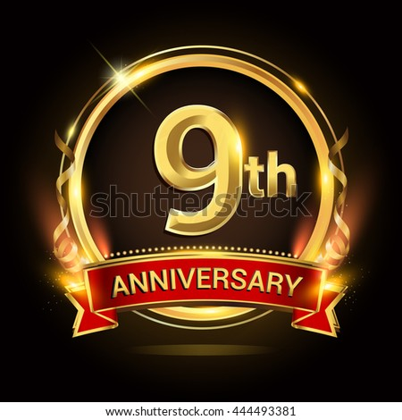 9th golden anniversary logo with ring and red ribbon, vector design. - stock vector