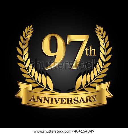 67th golden anniversary logo ring ribbon stock vector 404154298