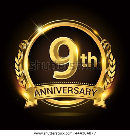 9th golden anniversary logo, 9 years anniversary celebration with ring and ribbon, Golden anniversary laurel wreath design. - stock vector