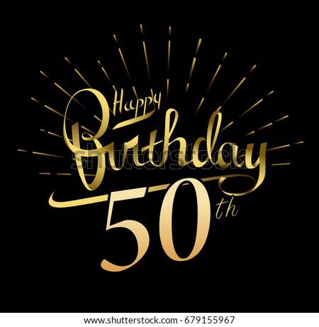 50th Happy Birthday Logo Beautiful Greeting Stock Vector Royalty