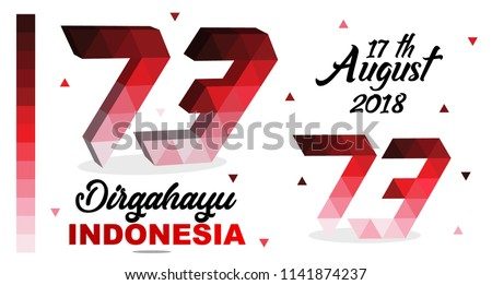 73 th Happy independence Indonesia with gradient color red