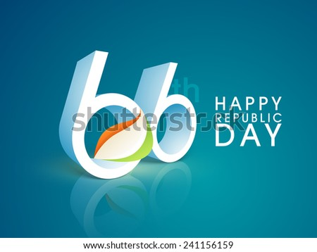 66th Indian Republic Day celebration with 3D text and national flag colors on glossy blue background. - stock vector