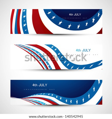 4th july american  independence day background three header set Vector - stock vector
