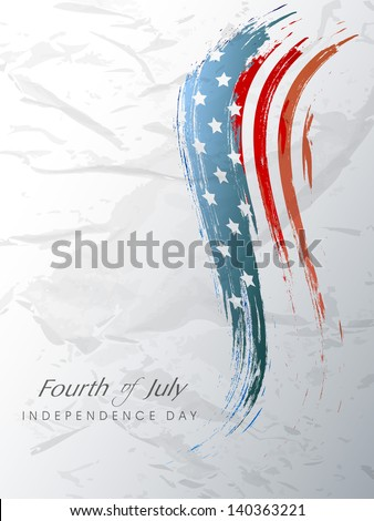 4th July, American Independence Day background with wave in flag colors on grungy grey background. - stock vector
