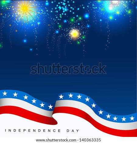 4th July, American Independence Day celebration background with fire crackers. - stock vector