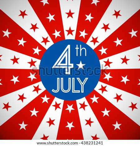 4th July, American Independence Day in flat icon design and star background (vector) - stock vector