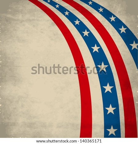 4th July, American Independence Day vintage background with national flag colors stripes. - stock vector