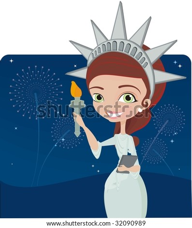 4Th july background with girl dressed as the statue of liberty - stock vector