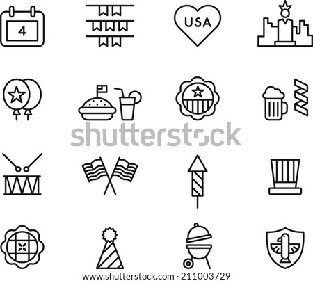4th July icons  - stock vector