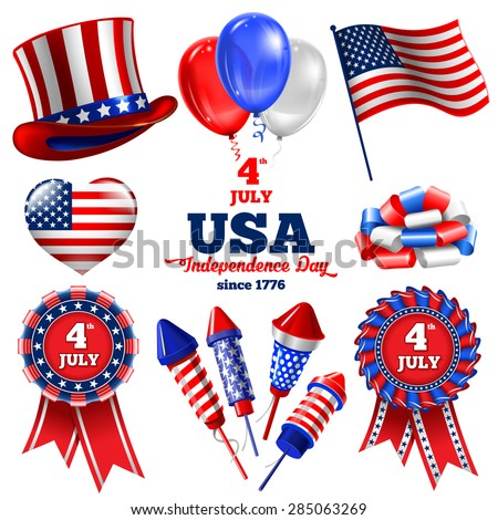 4th July - Independence day of United States of America  - festive vector set with different holiday symbols isolated on white background - stock vector
