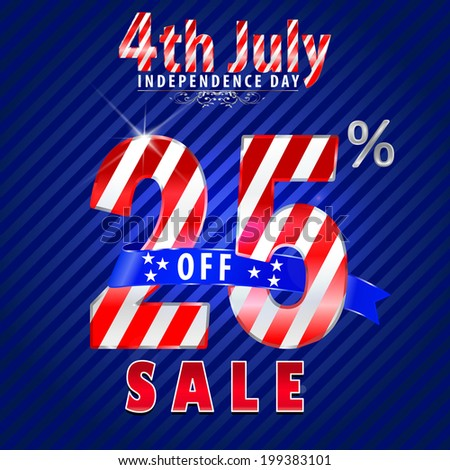 4th July Independence Day sale, 25% off sale - vector eps10