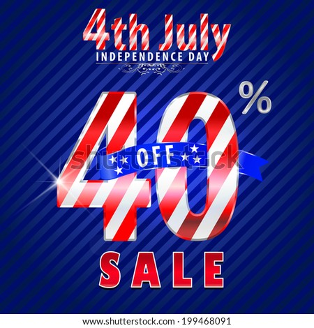 4th July Independence Day sale, 40% off sale - vector eps10
