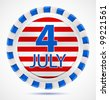 4th July label with ribbons, vector illustration - stock vector