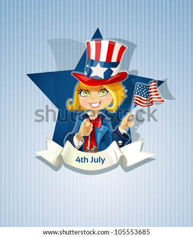 4th July poster with pretty girl - stock vector
