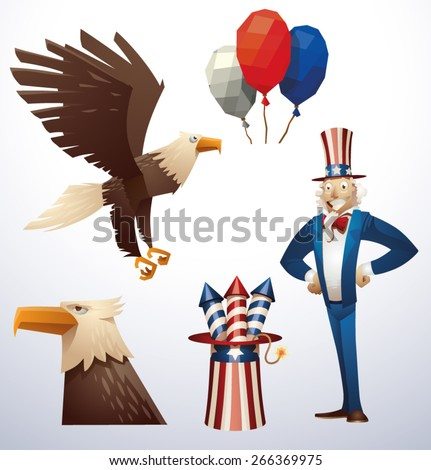 4th july set, vector - stock vector