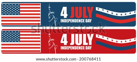 4th of July American independence day, abstract vector banner