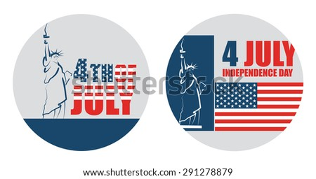 4th of July American independence day, abstract vector sticker - stock vector