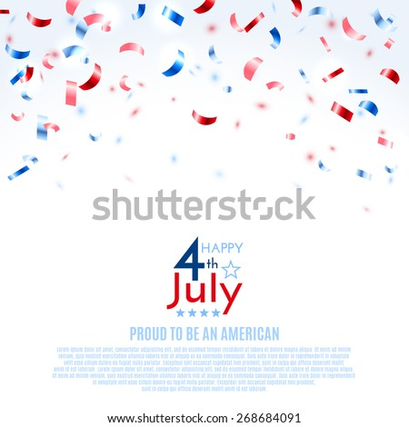 4th of July, American Independence Day background. Vector illustration, eps10. - stock vector