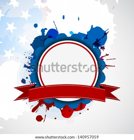 4th of July, American Independence Day background with blank circle frame for your message on grungy flag colors background. - stock vector