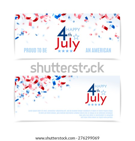 4th of July, American Independence Day banners. Vector illustration, eps10. - stock vector